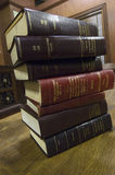 Stack Of Law Books. On table in courthouse Stock Photography