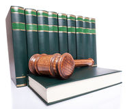 Stack of law books and a judge gavel Stock Photography