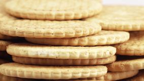Stack of lean cookies stock footage
