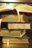 Stack of Leather Bound Books. This is an image of a stack of gold embossed, leather bound books royalty free stock image