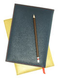 Stack of leather notebook and pencil Royalty Free Stock Photo