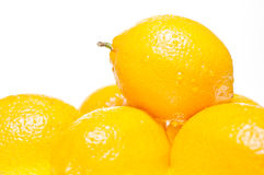 Stack of lemons extreme close up royalty free stock images