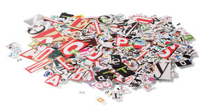 Stack with letters from newspapers Stock Photo
