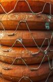 Stack of life buoys. Royalty Free Stock Photo