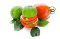 Stack of Lime and Tomato slices Royalty Free Stock Photo