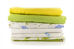Stack of linen on a white background Stock Images