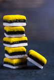 Stack of Liquorice candy vibrant background Stock Images