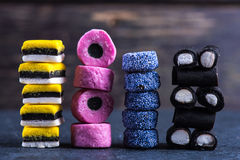 Stack of Liquorice candy vibrant background Royalty Free Stock Photo