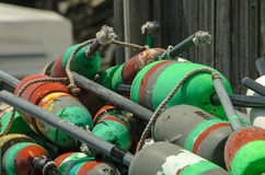 Stack of Lobster Buoys. A Stack of Green colored Lobster Buoys Stock Photography
