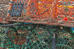 Stack of lobster crab pots traps Royalty Free Stock Photos