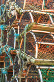 Stack of lobster crab pots traps Royalty Free Stock Photography