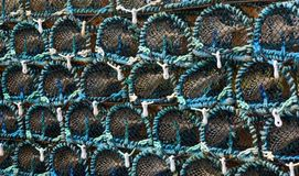 Stack of lobster pots Stock Photo