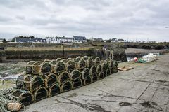 Lobster pots by the pier royalty free stock images