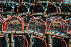 Stack of lobster pots Whitby Stock Images