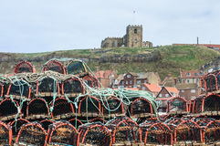 Stack of lobster pots Whitby Saint Mary's Church Royalty Free Stock Photography