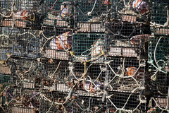 Stack of Lobster Traps Stock Photo