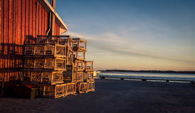 Stack of lobster traps Stock Photos