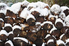 Stack of Logs with Snow Royalty Free Stock Photos