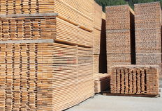 Stack of long wooden boards Stock Photography