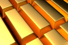 Stack of a lot gold bars close up shot Stock Images