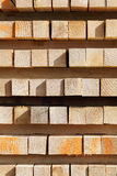 Stack of lumber. Close-up of stacked lumber Stock Image