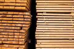 Stack of lumber in logs storage Royalty Free Stock Photo