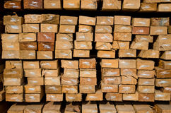 Stack of lumber in timber logs storage Stock Images