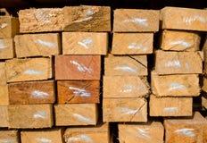 Stack of lumber in timber logs storage Royalty Free Stock Photos