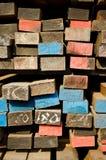 Stack of lumber in timber logs storage Stock Image