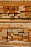 Stack of lumber in timber logs storage. Lumber stocking ready for sale in thailand Stock Photo