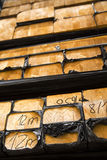 Stack of lumber in timber logs storage for construction or indus Royalty Free Stock Photos
