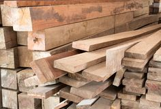 Stack of lumber in timber logs storage Stock Photography