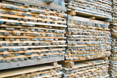 Stack of lumber wood in timber logs storage Stock Images