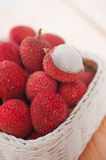 Stack lychee in basket Royalty Free Stock Photography