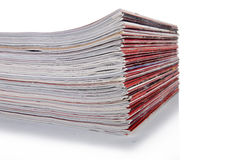 The stack of magazine isolated on the white background Stock Photo