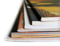 Stack of magazines. On white background Stock Photography