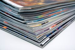 Stack of magazines. Close-up image of a stack of magazines Royalty Free Stock Photos