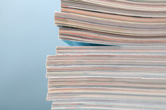 Stack of magazines detail. Recycle concept. Stock Photos