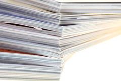 Stack of magazines isolated Royalty Free Stock Image