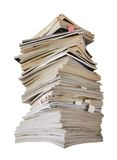 Stack of magazines and jounals, isolated Royalty Free Stock Images