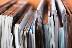 Stack of magazines. Magazine stack document publication journal periodical paper paper Stock Photo