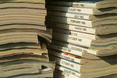 Stack of magazines ready to be recycled Stock Images