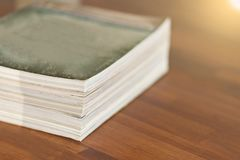 Stack of magazines on table living room Royalty Free Stock Photography