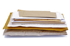 Stack of mail. Mail or post concept envelopes, letters,  bills and packages Royalty Free Stock Photo