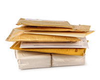 Stack of mail. Stack of letter mail isolated on white background Stock Photos