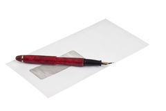 Stack of mail envelopes and a pen Royalty Free Stock Photo