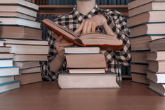 A stack  of many  books front person Royalty Free Stock Image
