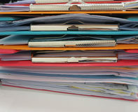 Stack of many color clipboard with documen Stock Images