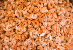 Stack of many dried salted prawn royalty free stock image