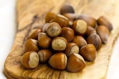 Stack of many hazelnuts , close up shot Stock Photography